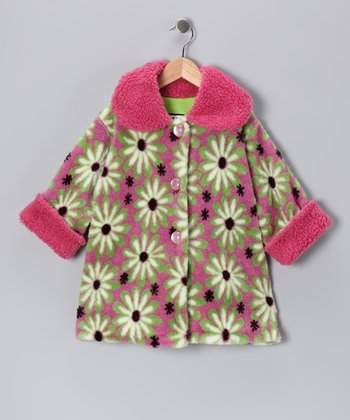 Rose & Green Daisy Sweet Pea Coat - Infant, Toddler & Girls