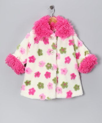 White & Pink Faux Fur Floral Sweet Pea Coat - Infant & Toddler