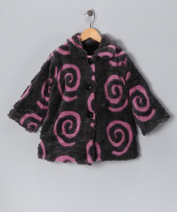 Pink & Charcoal Swirl Sweet Pea Coat - Toddler & Girls