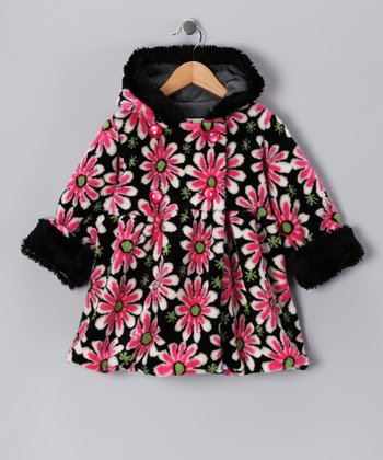 Black & Pink Daisy Mary-Jayne Bubble Coat - Toddler & Girls