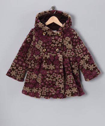 Brown & Purple Floral Mary-Jayne Bubble Coat - Toddler & Girls