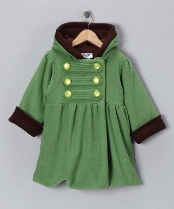 Green Fleece Military Mary-Jayne Coat - Infant, Toddler & Girls