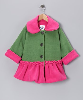 Green & Pink Sweet Pea Bubble Coat - Infant, Toddler & Girls