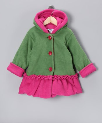 Green & Pink Split Swing Bubble Coat - Infant & Toddler