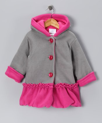 Gray & Pink Split Swing Bubble Coat - Infant & Toddler
