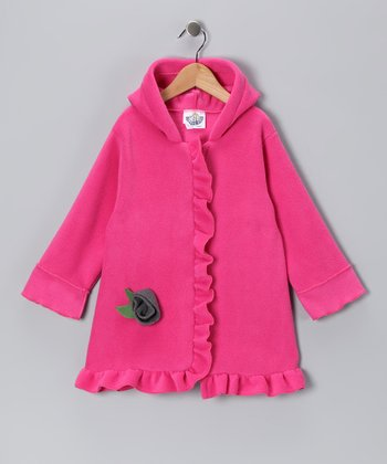 Pink Fleece & Gray Rosette Swing Coat - Infant, Toddler & Girls