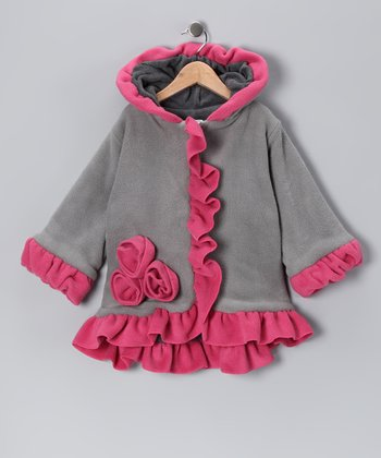 Gray & Pink Anne-Marie Coat - Toddler & Girls