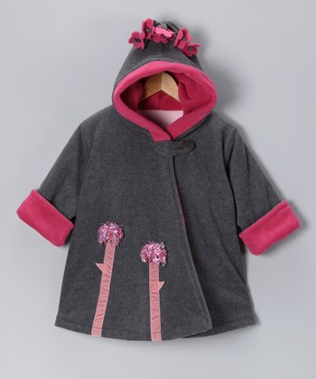 Charcoal Flower Wrap Swing Coat - Infant, Toddler & Girls