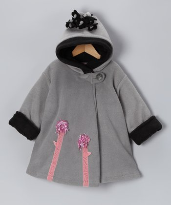 Gray Flower Wrap Swing Coat - Infant, Toddler & Girls