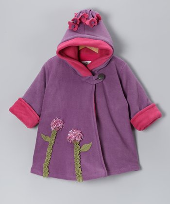 Lavender Flower Fleece Wrap Swing Coat - Infant, Toddler & Girls