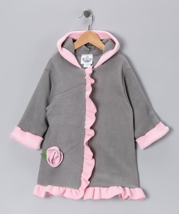 Gray & Pink Rosette Coat - Infant, Toddler & Girls