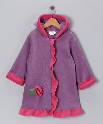 Lavender Rosette Fleece Swing Coat - Infant, Toddler & Girls