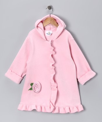 Light Pink Rosette Fleece Swing Coat - Infant, Toddler & Girls