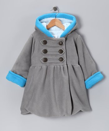 Gray & Blue Fleece Military Mary-Jayne Coat - Toddler & Girls