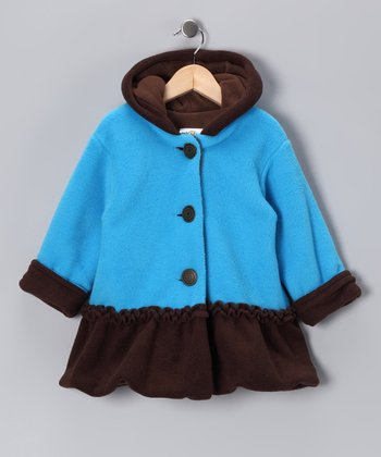 Turquoise & Brown Split Swing Coat - Infant & Toddler