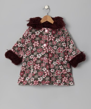 Gray & Pink Floral Sweet Pea Coat - Infant & Toddler