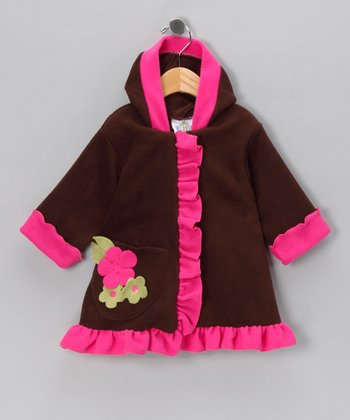 Brown & Watermelon Flower Swing Coat - Infant, Toddler & Girls