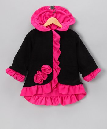 Black & Watermelon Anne-Marie Coat - Toddler & Girls