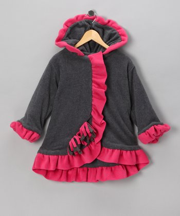 Charcoal & Watermelon Anne-Marie Coat - Toddler & Girls