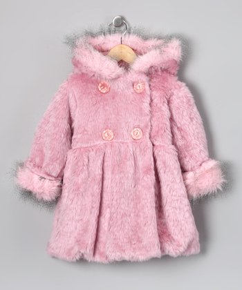 Rose Pink Faux Fur Mary Jayne Coat - Infant, Toddler & Girls