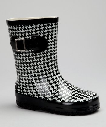 Corky's Footwear Black Houndstooth Baby Doll Rain Boot