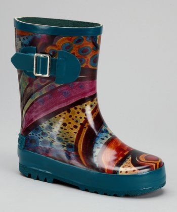 Corky's Footwear Teal & Red Swirl Babydoll Rain Boot