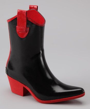 Black & Red Tonto Rain Boot