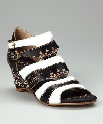 Black & White Redonda Leather Sandal