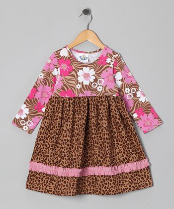 Brown Leopard Zoology Babydoll Dress - Infant & Toddler