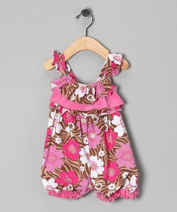 Brown & Pink Zoology Bubble Romper - Infant