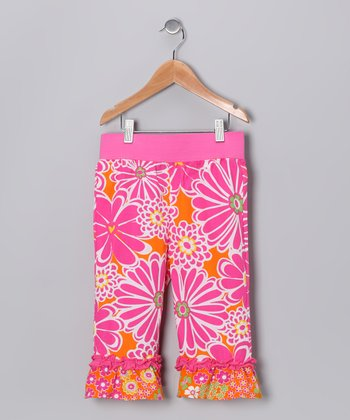 Pink Mummy Ruffle Capri Pants - Girls