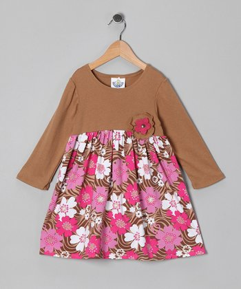 Brown & Pink Zoology Babydoll Dress - Infant, Toddler & Girls