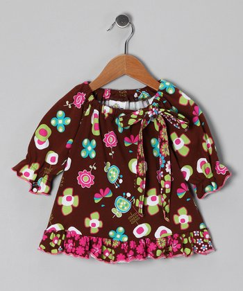 Brown Funtime Peasant Tunic - Toddler & Girls