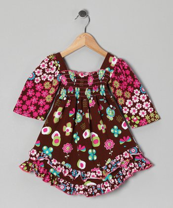 Brown Fun Time Smocked Dress - Infant, Toddler & Girls