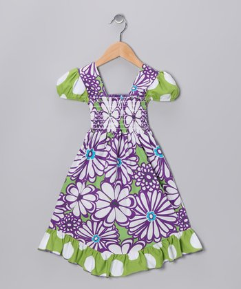Purple & Green Mummy Smocked Dress - Infant, Toddler & Girls