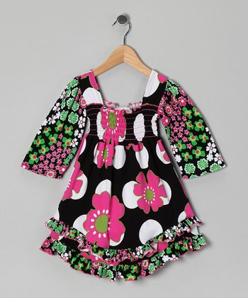 Black Floral Smocked Dress - Toddler & Girls