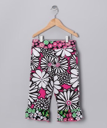 Pink & Black Mummy Ruffle Capri Pants - Toddler & Girls