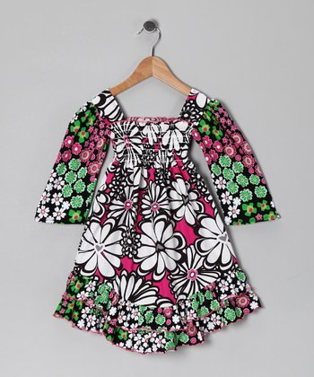 Black & Green Floral Smocked Dress - Infant, Toddler & Girls