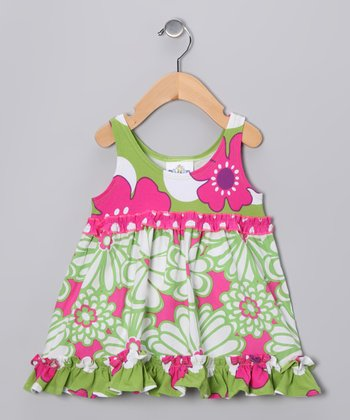 Green & Pink Mummy Beach Babydoll Dress - Infant, Toddler & Girls