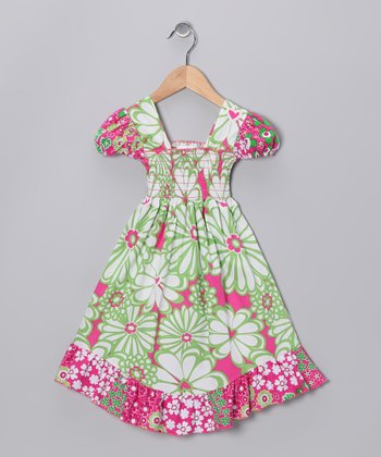 Green & Pink Mummy Smocked Dress - Toddler & Girls