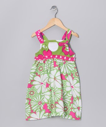 Green & Pink Mummy Frolic Jumper - Girls
