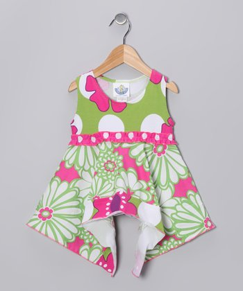 Green & Pink Mummy Handkerchief Top - Girls