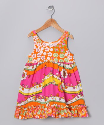 Pink & Orange Garden Babydoll Dress - Infant, Toddler & Girl