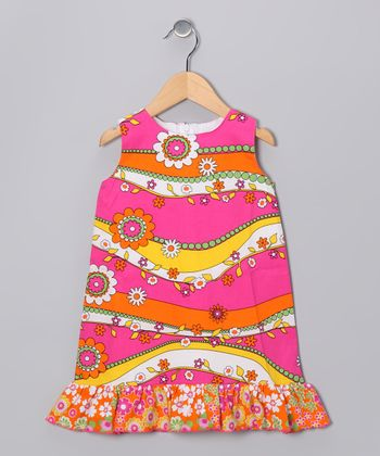 Pink & Orange Garden Ruffle Shift Dress - Infant & Girls