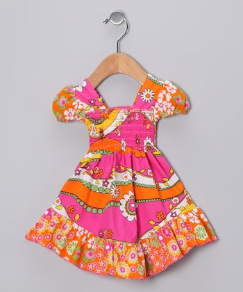 Pink & Orange Garden Smocked Dress - Infant, Toddler & Girls
