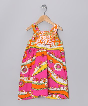 Pink & Orange Garden Ruffle Jumper - Girls