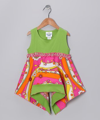 Green, Orange & Pink Garden Handkerchief Tunic - Infant & Girls