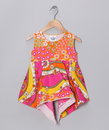 Pink & Orange Garden Handkerchief Tunic - Girls
