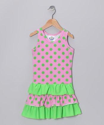 Pink & Green Polka Dot Drop-Waist Dress - Infant, Toddler & Girls