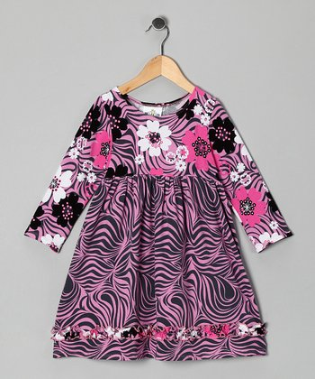 Pink Zebra Zoology Babydoll Dress - Toddler